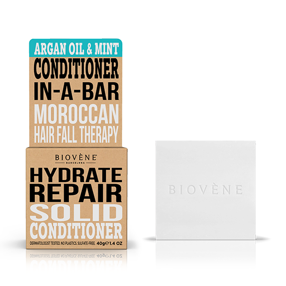 biovene barcelona solid conditioner in a bar